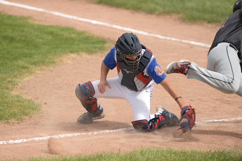 Matthew Gaston | The Sheridan Press<br>Troopers' catcher Cody Kilpatrick (8) just misses the tag at home plate allowing Gillette to score the fourth run of the game Wednesday, May 27, 2020.