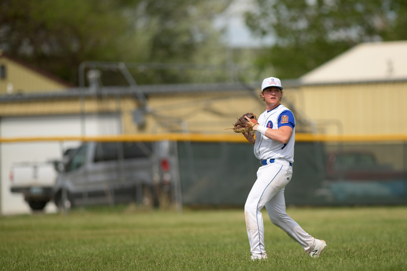 Matthew Gaston | The Sheridan Press<br>Sheridan's Jacob Boint (12) looks for the play at home plate against Gillette Wednesday, May 27, 2020.