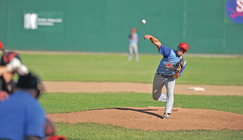 Bud Denega | The Sheridan Press<br /> Sheridan's Quinn McCafferty pitches in a game against Gillette at Thorne-Rider Stadium Wednesday, July 18, 2018. The Roughriders topped the Troopers 8-4.