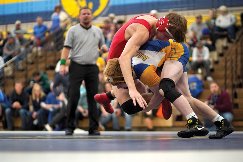 Matthew Gaston | The Sheridan Press<br>Sheridan's Reese Osborne gets two points for the take down during the Broncs dual with Central Friday, Feb. 7, 2020.