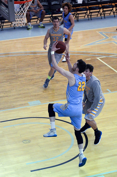 Joel Moline | The Sheridan Press<br /> Sheridan College's Joe Bielak (22) scores a layup against the Sherida All-Stars, Saturday, Nov. 30, 2019.