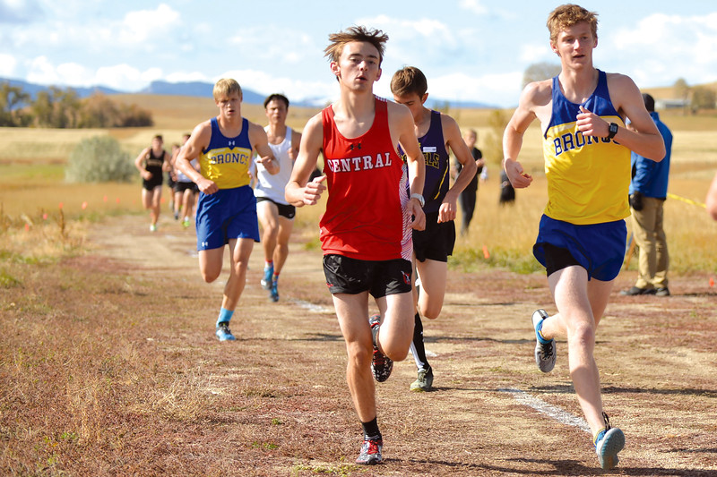 Joel Moline | The Sheridan Press<br /> Sheridan's Blaine Johnson, right, and Wyatt Shaw, left, find their pace of running during the 4A  east conference meet Friday, Oct. 18, 2019.