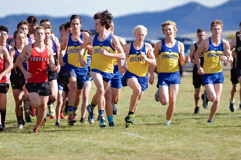 Joel Moline | The Sheridan Press<br /> Sheridan's boys cross country team move into position during the start of the 4A  east conference meet Friday, Oct. 18, 2019. The team took first place in the meet.