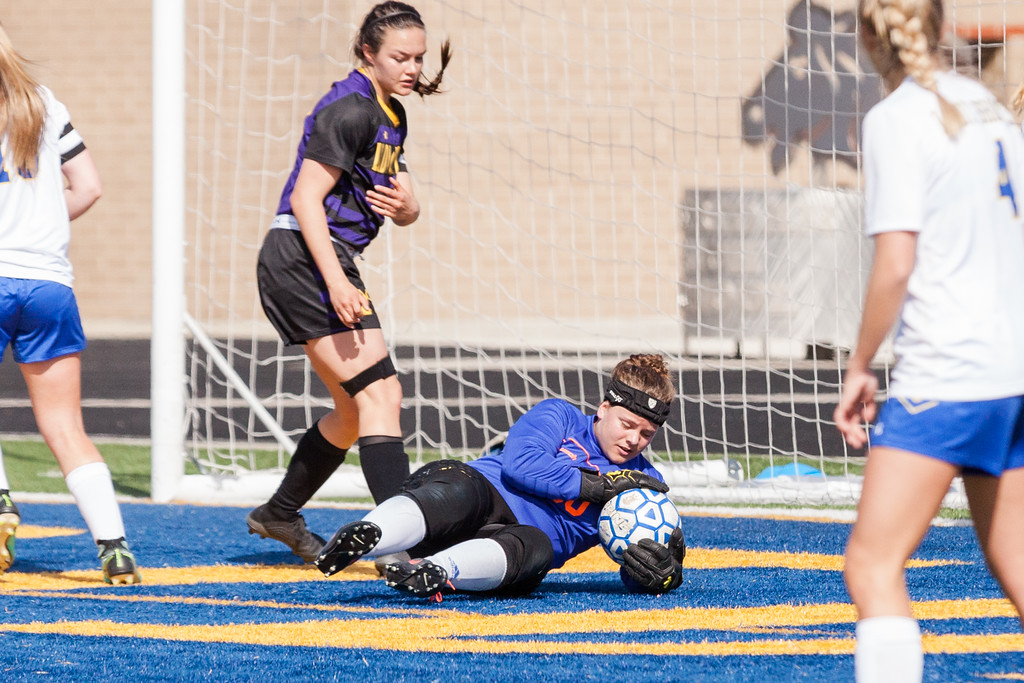 Tibby McDowell   The Sheridan Press  <br /> Sheridan keeper Zoie Jones saves a shot on goal by Gillette during girls varsity soccer at Homer Scott Field Saturday, April 14, 2018.  Zoie had 18 saves for the game and only allowed one goal in a heavily one-sided competition.