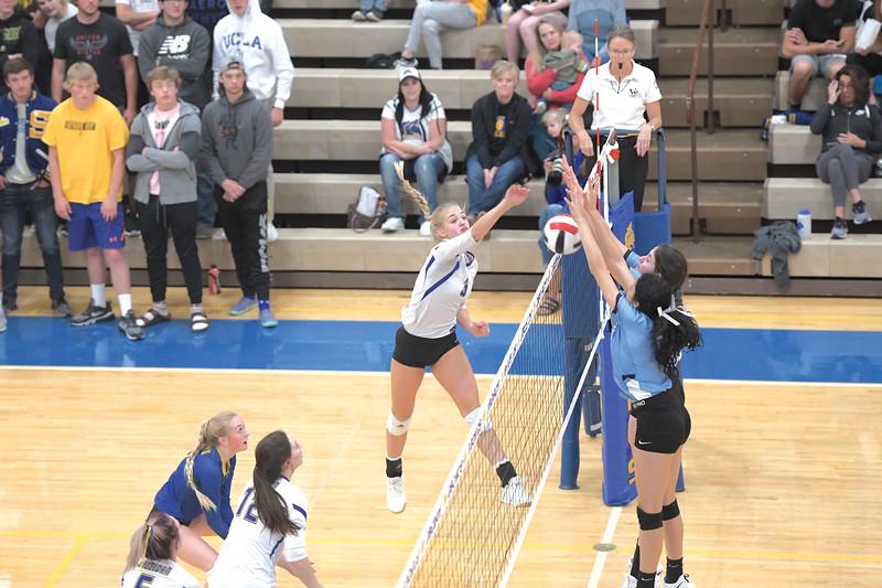 Matthew Gaston | The Sheridan Press<br>Sheridan's Katie Ligocki (3) gets the point despite a solid defensive effort by Cheyenne East Saturday, Oct 5, 2019.