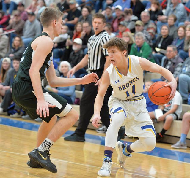 Bud Denega | The Sheridan Press<br /> Sheridan's Ethan Rickett handles the ball during a game against Cheyenne East at Sheridan High School Feb. 2, 2018.