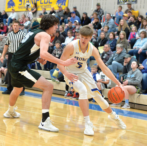 Bud Denega | The Sheridan Press<br /> Sheridan's Gus Wright handles the ball during a game against Cheyenne East at Sheridan High School Feb. 2, 2018.