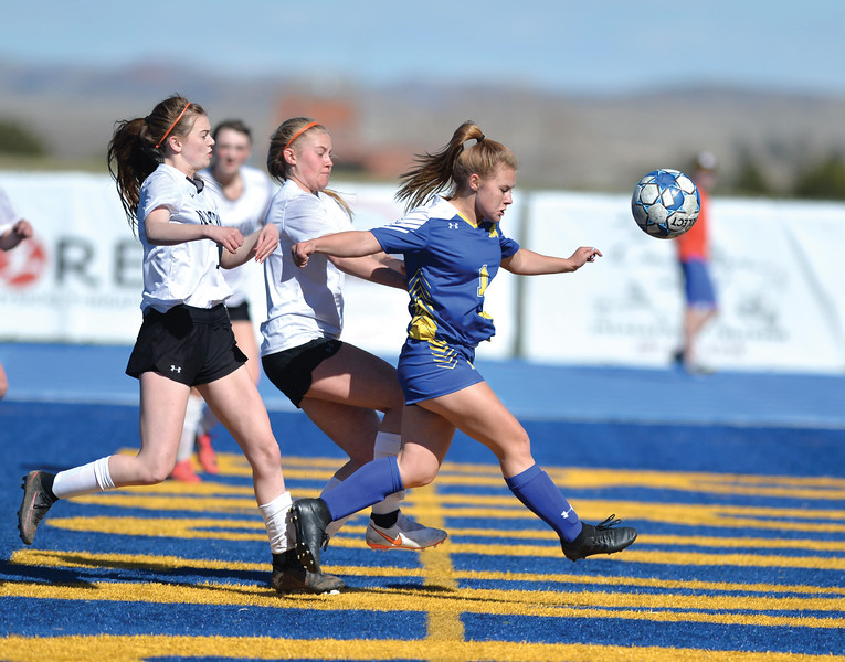 Bud Denega | The Sheridan Press<br /> Sheridan's Aubrey Cooper looks to play a ball during a game against Natrona County at Homer Scott Field Thursday, April 18, 2019.