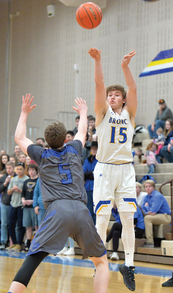 Bud Denega | The Sheridan Press<br /> Sheridan's Tristan Bower fires a shot during the Broncs' game against Thunder Basin at Sheridan High School Saturday, Feb. 16, 2019.