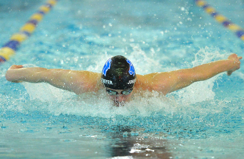 Justin Sheely | The Sheridan Press<br /> Sheridan's Caleb Johannesmeyer slices through the water in the 200-meter IM during the last home swim meet at Sheridan Junior High School pool Friday, Jan 26, 2018.