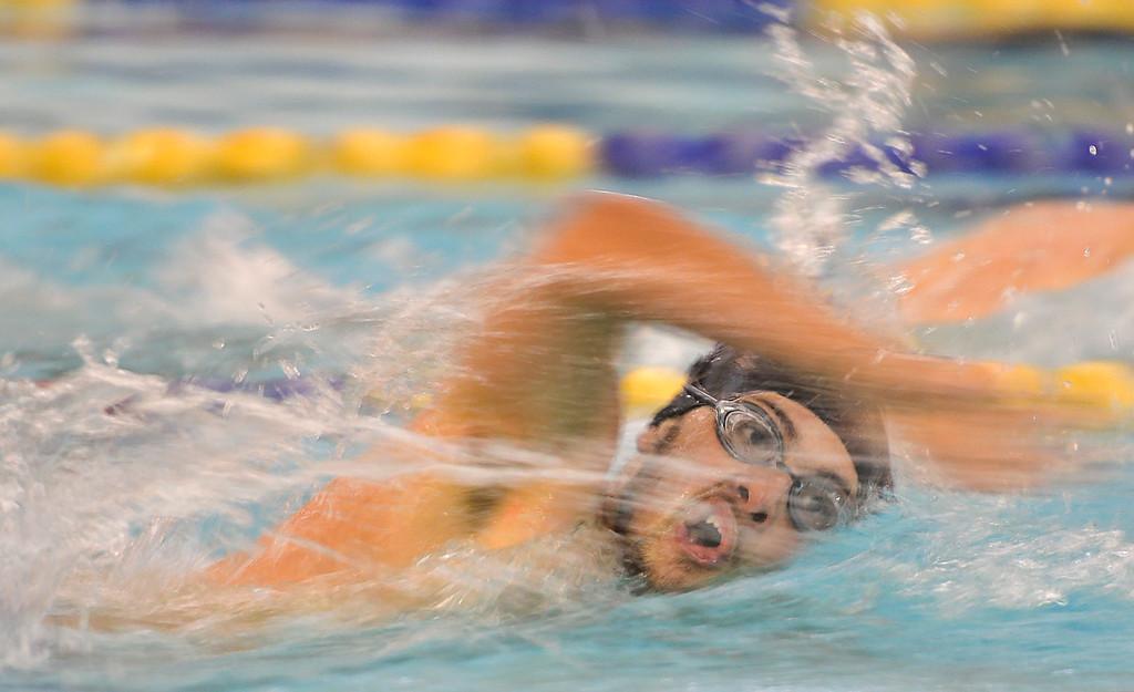 Justin Sheely | The Sheridan Press<br /> Sheridan's Walkara Robinson competes in the 100-meter freestyle during the last home swim meet at Sheridan Junior High School pool Friday, Jan 26, 2018.
