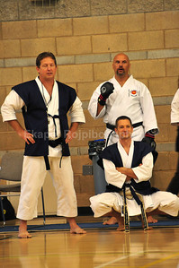 Judges, my sensei, Jon Keeling and Rabbitt sensei (standing up)  Shinkyu Shotokan Karate Tournament, South San Francisco.
