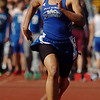 be0402trak16<br /> Peak to Peak's Khadij Sayyid running in the 100m dash during the Broomfield Shoot Out Track Meet at Elizabeth Kennedy Stadium on Friday..<br /> April 1, 2011<br /> staff photo/David R. Jennings