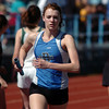be0402trak04<br /> Broomfield's Katheryn Middel-Katzenmeyer running the second leg of the 4X800 relay during the Broomfield Shoot Out Track Meet at Elizabeth Kennedy Stadium on Friday..<br /> April 1, 2011<br /> staff photo/David R. Jennings