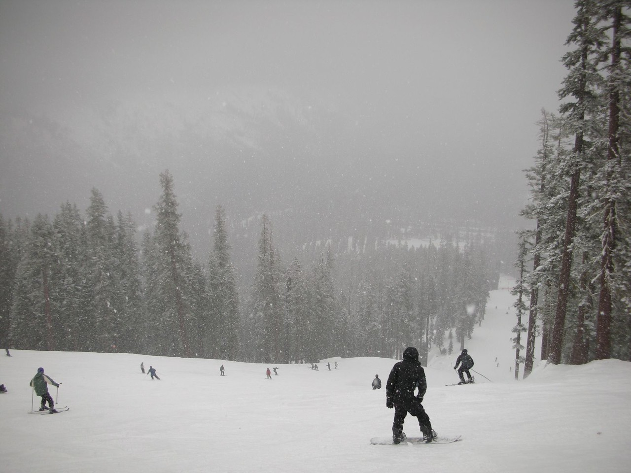 Back up top now - and it's snowing again!  Beautiful!
