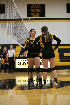Sigourney High School Savages Girls Volleyball Playoff Game Action