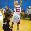 S0109BASKET1<br /> Centarus' #23, Anna Hubbell puts up a shot as Silver Creek's #3, Margaret Davis defends during their game at Centarus High School on Tuesday evening, January 8th, 2013.<br /> <br /> Photo by: Jonathan Castner