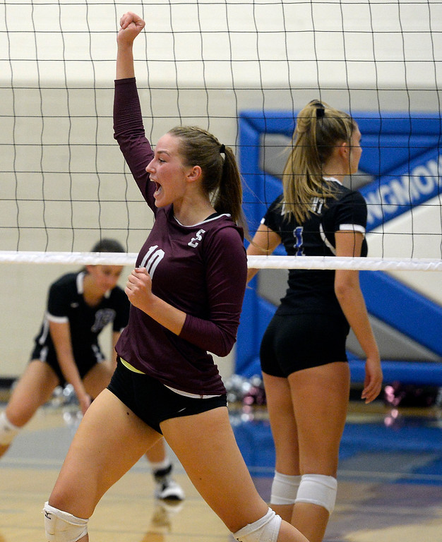 . LONGMONT, CO: September 18: Silver Creek\'s Caitlin Volkmann, celebrates a point on Longmont. Silver Creek played Longmont at LHS on September 18, 2018.  (photo by Cliff Grassmick/Staff Photographer).