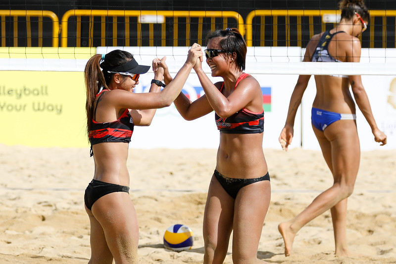 Singapore Open FIVB Beach Volleyball World Tour 2018, Day -2, 22/06/2018, Qualifiers round, SGP Players greeting each other at Siloso Beach, Sentosa, Singapore. (Photo by: Sanketa Anand/SportSG)