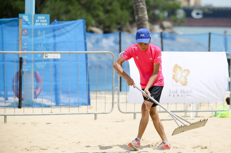 Singapore Open FIVB Beach Volleyball World Tour 2018, Day -2, 22/06/2018, Qualifiers round, Volunteers contributing massively at Siloso Beach, Sentosa, Singapore. (Photo by: Sanketa Anand/SportSG)