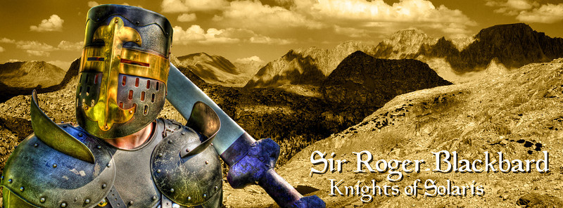 If Sir Roger wanted to create a Facebook page with the new format, this is the type of image he might choose. This composite is proportioned as a potential header image. The image in the background is a panorama that I took in the Sierras many years ago.