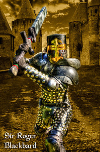 Our hero prepares strikes a combat pose. Sir Roger was completely at ease with the camera. After all  he had the sword.
