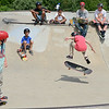 Eamon Durkan, 11, of Leominster, performs a trick during the 10th Annual Skate Camp at Ryan C. Joubert Memorial Skate Park in Fitchburg on Monday afternoon. SENTINEL & ENTERPRISE / Ashley Green