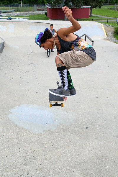 Kose Nieves, 19, practices some skateboarding moves at the Ryan C. Joubert Memorial Skate Park on Monday afternoon in Fitchburg. SENTINEL & ENTERPRISE/JOHN LOVE
