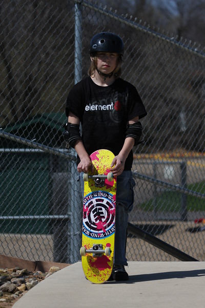 Hunter and his new skateboard.