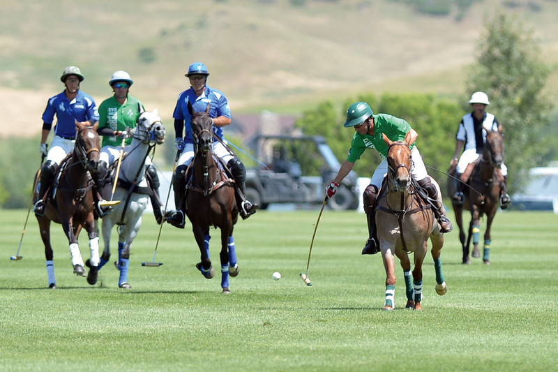 Joel Moline | The Sheridan Press<br /> Tom Sprung advances the ball down the field at the Flying H Polo Club on Thursday, Aug. 1, 2019.