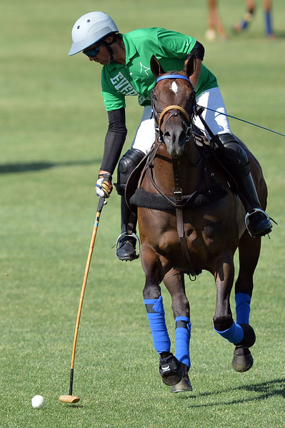 Joel Moline | The Sheridan Press<br /> Carlitos Galindo takes a shot at the goal during the Skeeter Johnnson Cup Final at the Flying H Polo Club Thursday, Aug. 3, 2019.