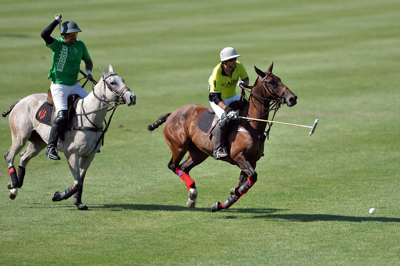 Joel Moline | The Sheridan Press<br /> Will Johnston moves the ball down the field during the Skeeter Johnnson Cup Final at the Flying H Polo Club Thursday, Aug. 3, 2019.