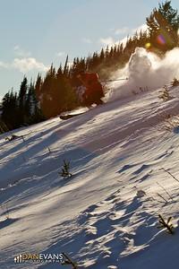 Backlit skier mount norquay - skier: Grif