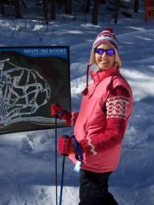 Caroline prepares to ski down from the top of Sipapu mountain.