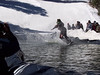 A pond-skimming snowboarder at Sipapu.