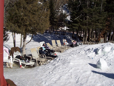 Another view of the sunny lounge chairs at the ski slope base.