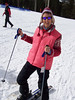 Caroline gets into her skis at Pajarito Resort in Los Alamos.