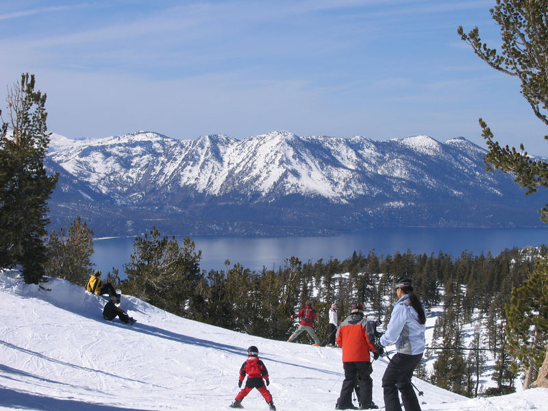 The southern end of Lake Tahoe from on high.