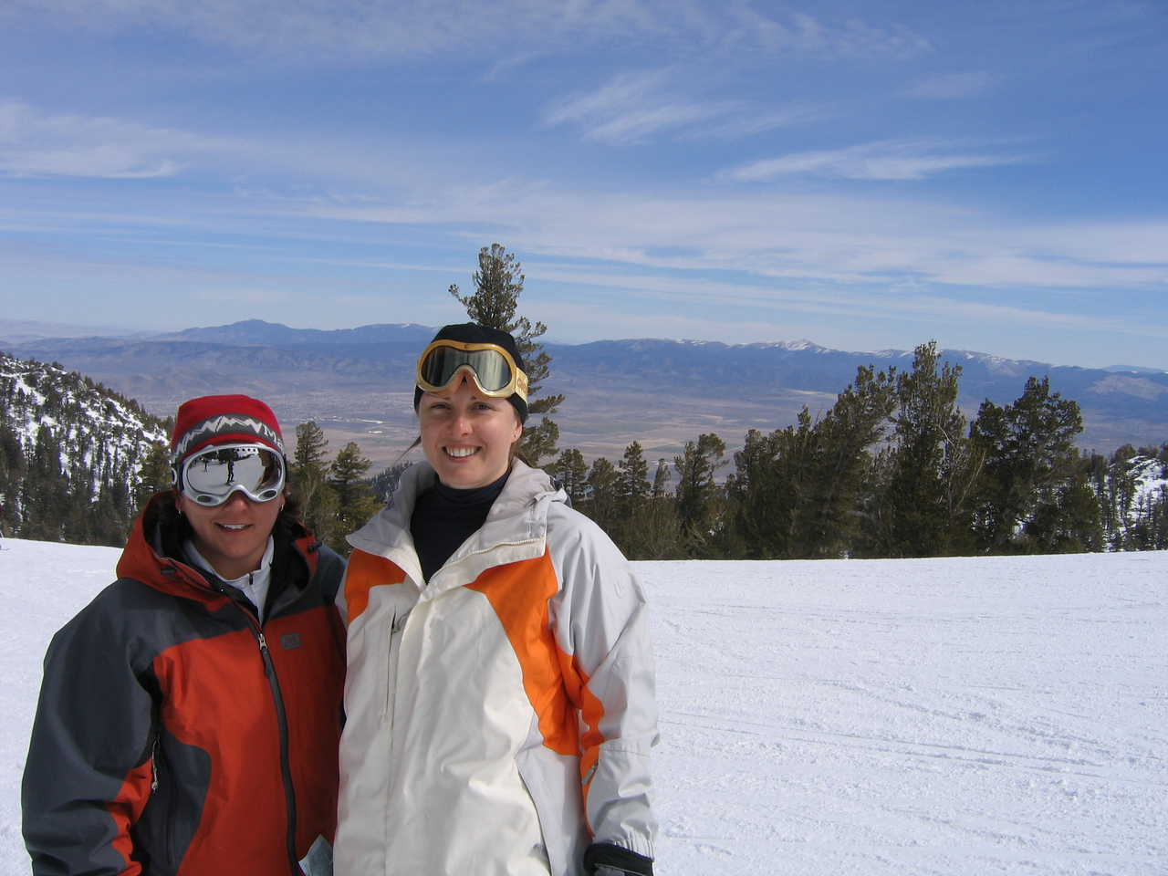 Becky and Carrie's postcard shot. Sorry about the tree growing out of your head. My bad.