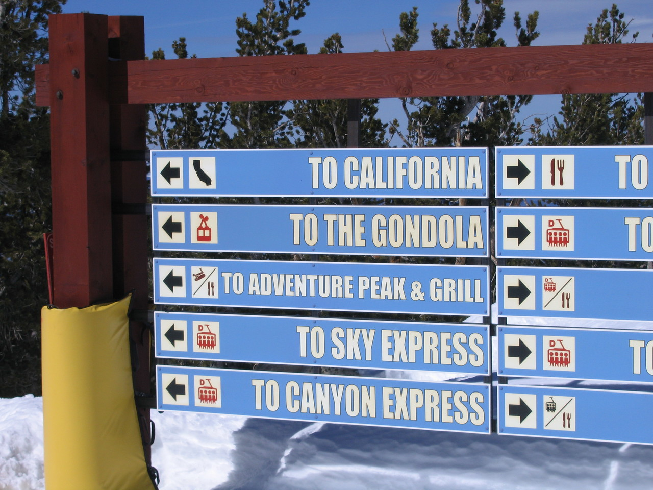 Yup, you could ski right into California. It's the best way into the state.