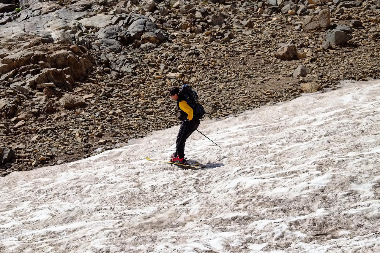 Chris skiing the lower glacier