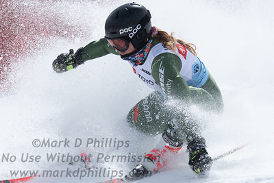 Paula Moltzan skis to a 9th place finish in parallel slalom at the US Nationals in Alpine Skiing at Waterville Valley, New Hampshire, on March 23, 2019.