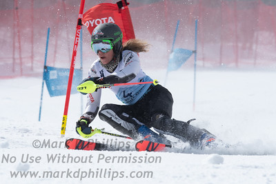Resi Stiegler skis to a 16th place finish in parallel slalom at the US Nationals in Alpine Skiing at Waterville Valley, New Hampshire, on March 23, 2019.