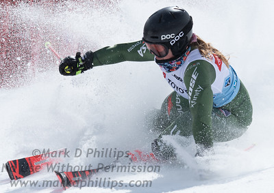 Paula Moltzan skis at the US Nationals in Alpine Skiing at Waterville Valley, New Hampshire, on March 23, 2019.