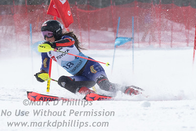 Isabella Wright races parallel slalom at the US Nationals in Alpine Skiing at Waterville Valley, New Hampshire, on March 23, 2019.