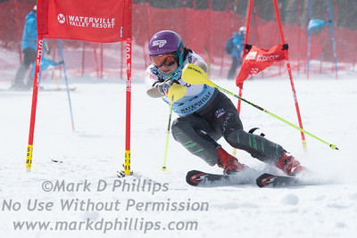Cecily Decker races parallel at the US Nationals in Alpine Skiing at Waterville Valley, New Hampshire, on March 23, 2019.