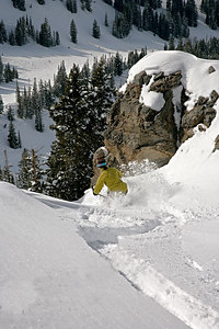 Name that Shot This steep narrow shot from the Germania Ridge isn't skiable except when there is a lot of snow and probably not worth doing unless you get first tracks.  23 March 2006