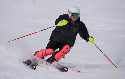 Nate Bonini foreruns at U19 Race at Blandford Ski Area on January 30, 2016