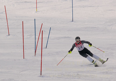 Nick Ottoson of Blandford bounces out of a rut as he skis at the U19 race at Bousquet Ski Area on January 31, 2016.
