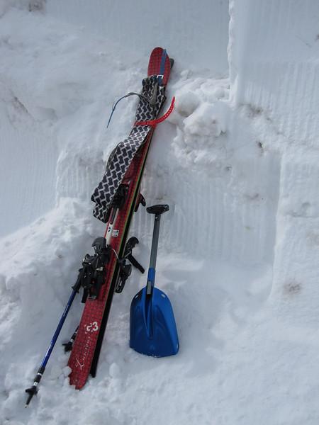 Skis, Skins, Poles & Shovel.